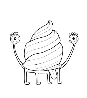 Funny cute snail monster with a shell and tongue imaginary creature for kids coloring book