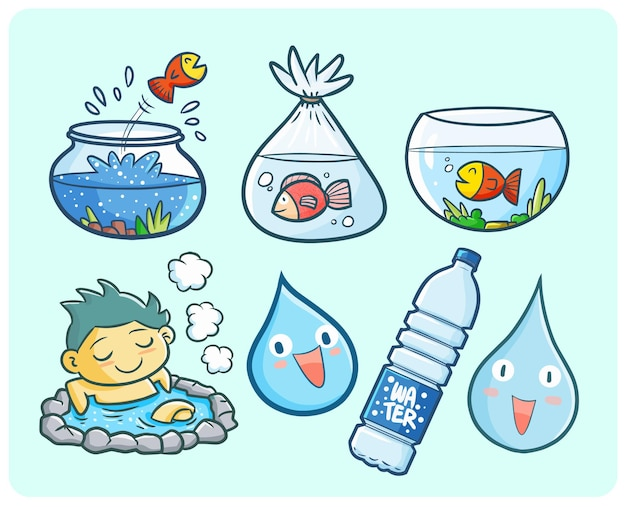 Funny and cute water theme illustration in kawaii doodle style