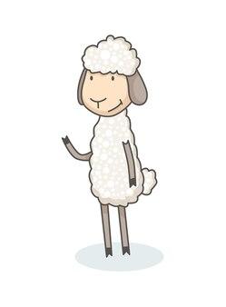 手描きスタイルで面白いかわいい白い羊