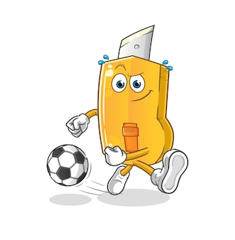 Funny cutter kicking the ball cartoon