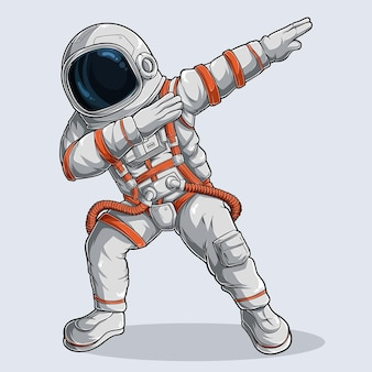 Funny dabbing astronaut, dabbing cosmonaut, dabbing spaceman with white and orange spacesuit