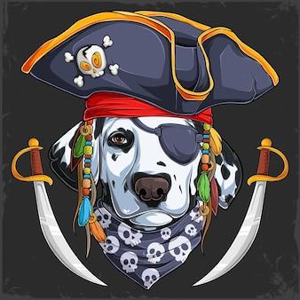 2本の剣を持つ海賊帽子の面白いダルメシアン犬ハロウィーンダルメシアン海賊の顔