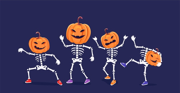 Забавные танцующие скелеты с головами тыквы векторная иллюстрация
