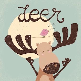 Funny dear with bird. bird song.