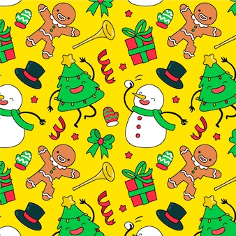 Funny decoration christmas pattern wallpaper
