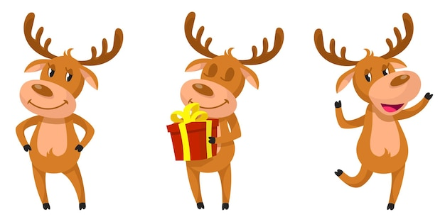 Funny deer in different poses. christmas character in cartoon style illustration