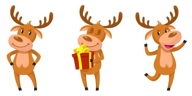 다른 포즈에 재미있는 사슴. 만화 스타일 일러스트에서 크리스마스 문자