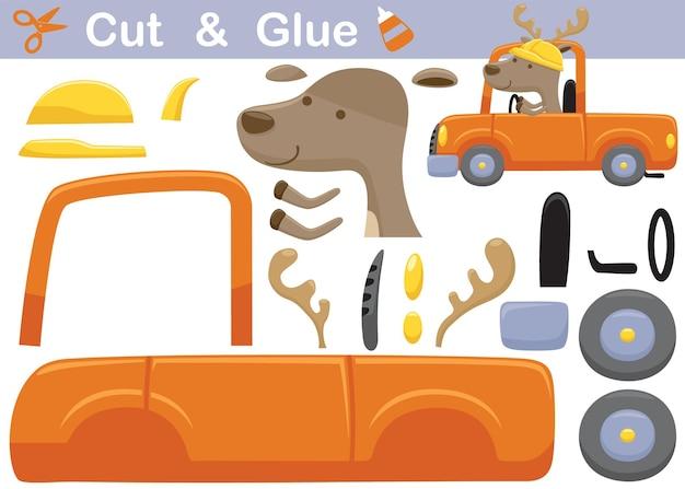 Забавный олень в шлеме за рулем грузовика. развивающая бумажная игра для детей. вырезка и склейка. иллюстрации шаржа