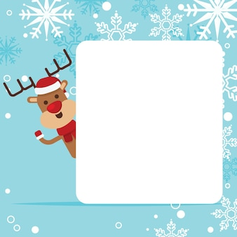 Funny deer with empty paper sheet