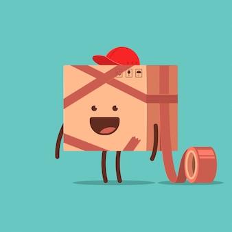 Смешная коробка доставки с клейкой лентой вектор мультипликационный персонаж, изолированных на фоне.