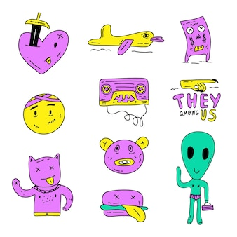 Funny design of sticker set with acid colours