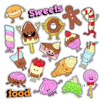 Смешные десертные персонажи face emoji для значков, патчей, наклеек. векторный рисунок