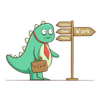 Funny dinosaur go to work. funny expression and need to sleep