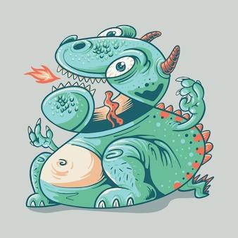 재미 있는 공룡 그래픽 일러스트 벡터 아트 티셔츠 디자인