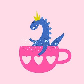 Забавный динозавр сидит в чашке