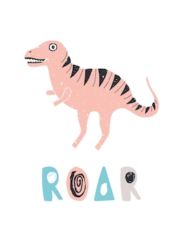 Funny dinosaur or t-rex and roar lettering isolated
