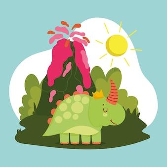 Funny dinosaur and volcano
