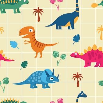 손바닥과 나뭇잎 사이에 재미있는 공룡. 원활한 패턴입니다. 손으로 그린 스타일의 어린이 벡터 삽화.