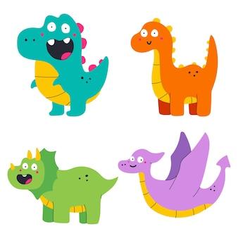 재미있는 공룡 만화 세트 흰색 배경에 고립.