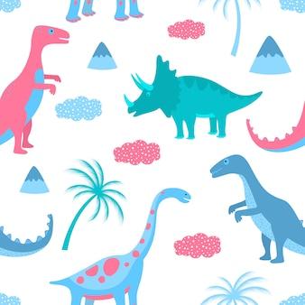 面白い恐竜、雲、ヤシの木。手描きのシームレスパターン