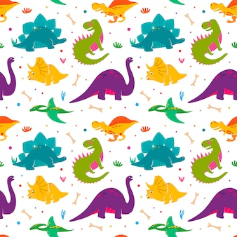 Funny dinosaurs seamles pattern.