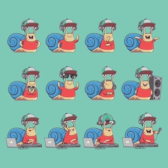 재미있는 dj 달팽이 캐릭터 세트