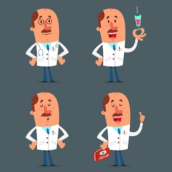 Funny doctor character set. vector cartoon medical worker isolated