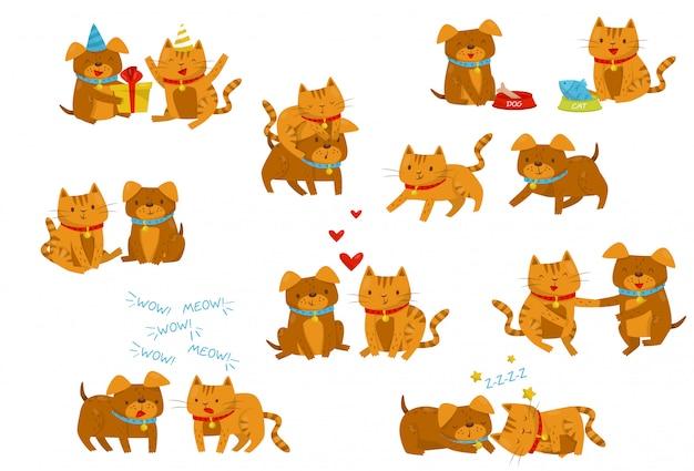 面白い犬と猫のセット、さまざまな状況でかわいい家畜ペットの漫画のキャラクター、白い背景の上の親友イラスト