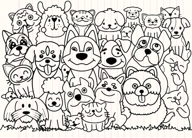 Смешная собака и милый кот лучшие друзья. с днем дружбы. векторная иллюстрация
