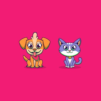 Funny dog and cat family pets illustration