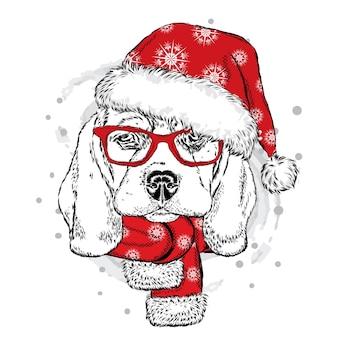 Забавная собака в новогодней шапке и шарфе. рождество.