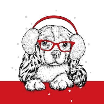 冬のヘッドフォンで面白い犬。