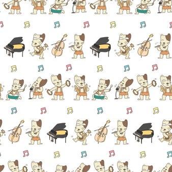 Смешная собака музыкант бесшовные модели