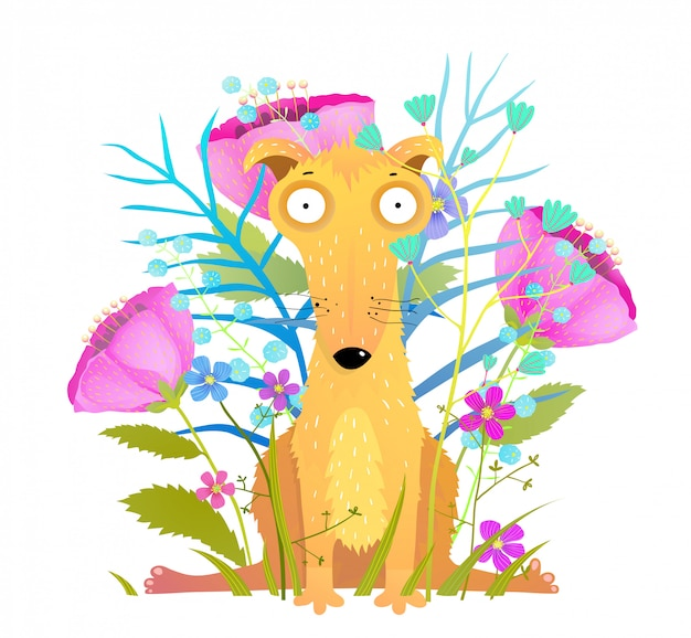 Funny dog sitting with flowers greeting card design