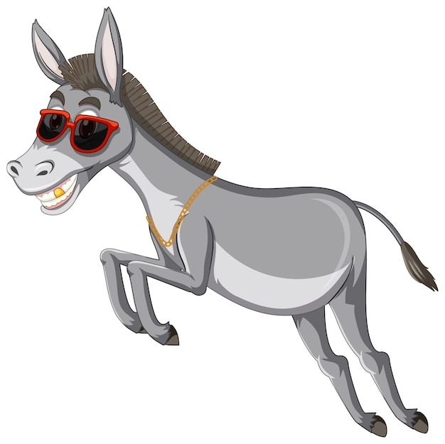 面白いロバの動物の漫画のキャラクター
