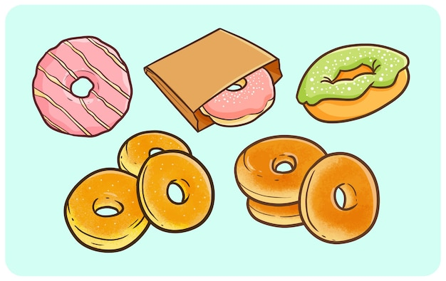 Funny donuts in simple doodle style