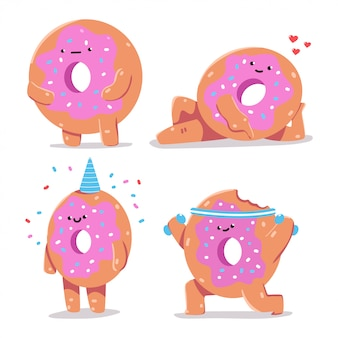 Funny donuts vector cartoon characters set isolated.