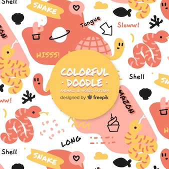 Funny doodle animals and words pattern