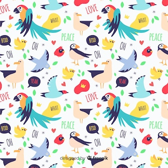 Funny doodle birds and words pattern