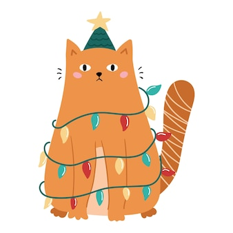 Funny doodle cat with christmas decoration - garland and tree hat