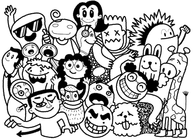 Funny doodle people, hand drawn illustration