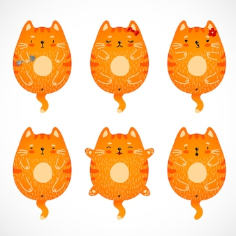 Funny doodle red cats set.