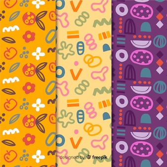Funny doodles hand drawn pattern collection