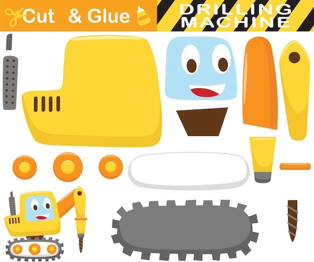 面白い掘削トラクター。子供のための教育紙ゲーム。カットアウトと接着。漫画イラスト