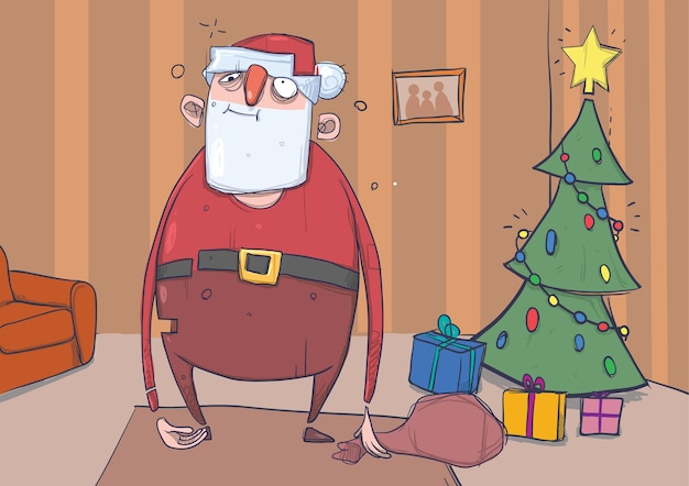 Funny drunk santa claus with a bag stands in a room with decorated christmas tree and presents.