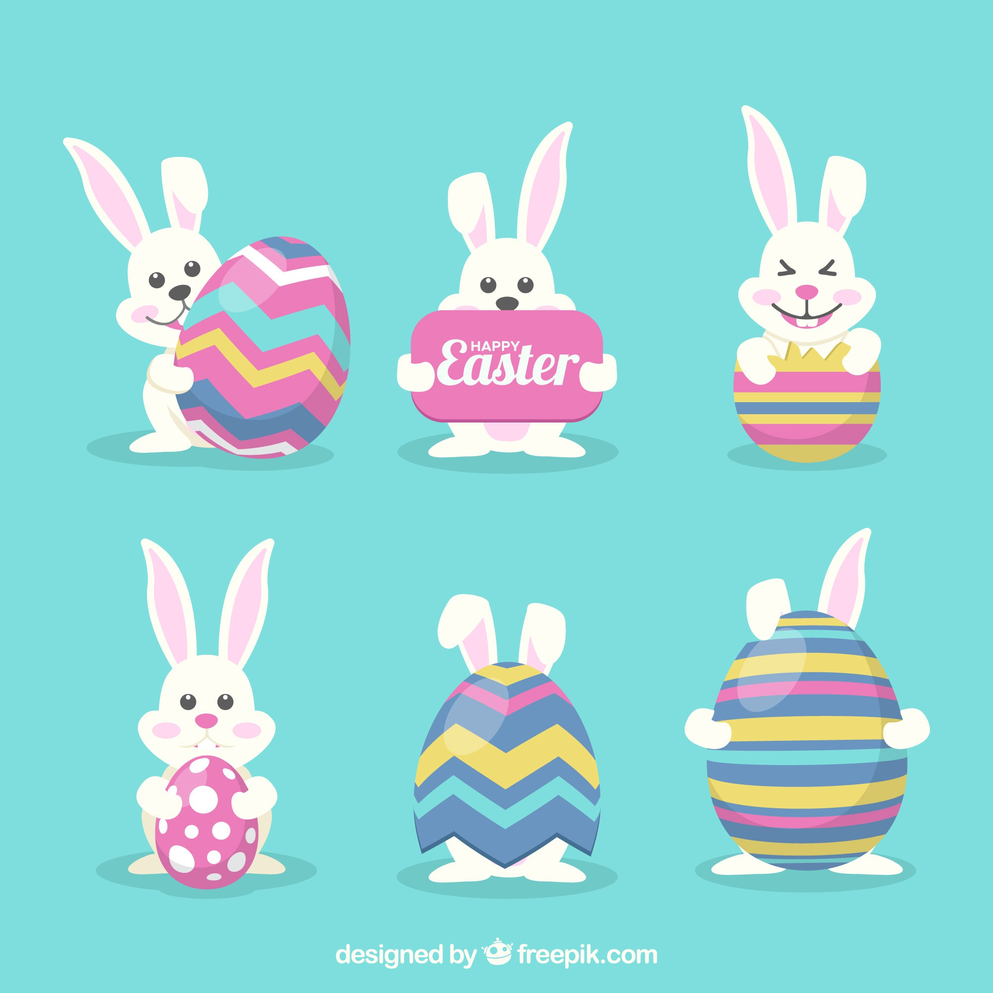Funny easter bunny collection with eggs