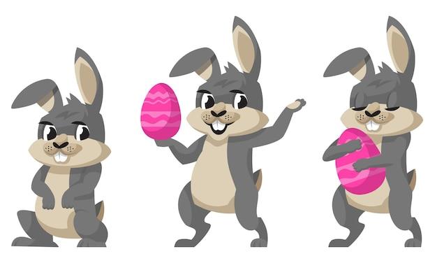다른 포즈에 재미있는 부활절 토끼. 만화 스타일의 귀여운 동물.