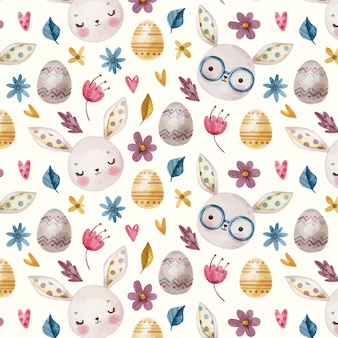 Funny easter pattern with bunnies, easter eggs and flowers