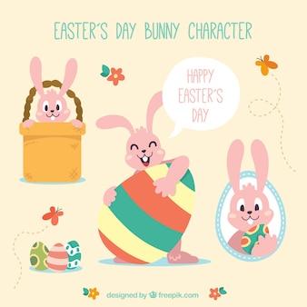 面白いイースターの日のウサギのキャラクター
