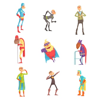 Funny elderly superman cartoon characters in action set of  illustrations